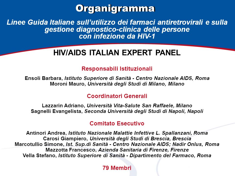 Organigramma HIV/AIDS ITALIAN EXPERT PANEL