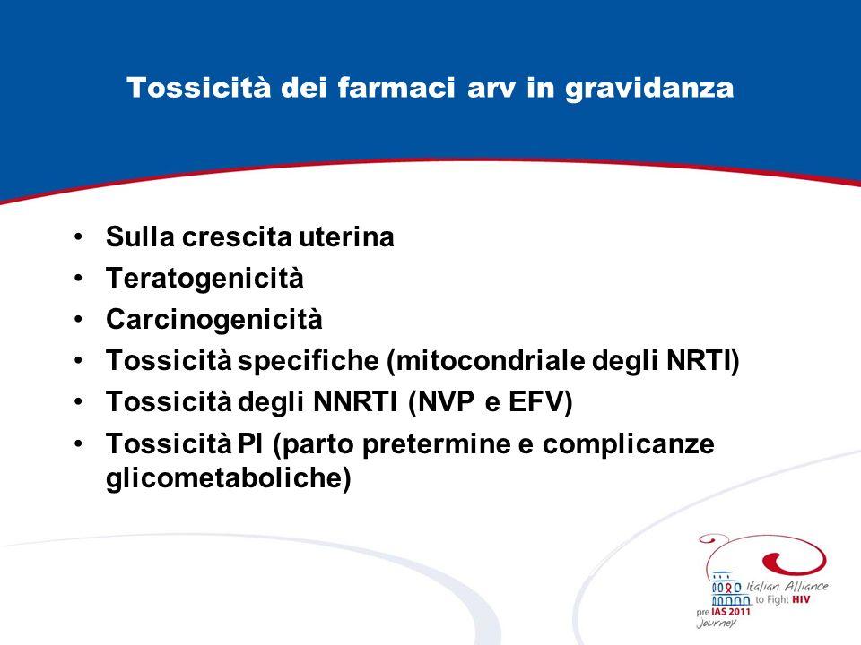 Tossicità dei farmaci arv in gravidanza