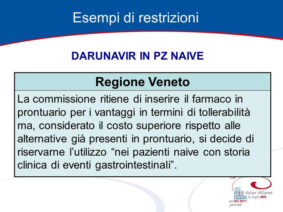 Esempi di restrizioni Regione Veneto