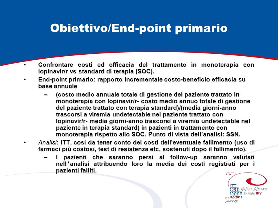 Obiettivo/End-point primario
