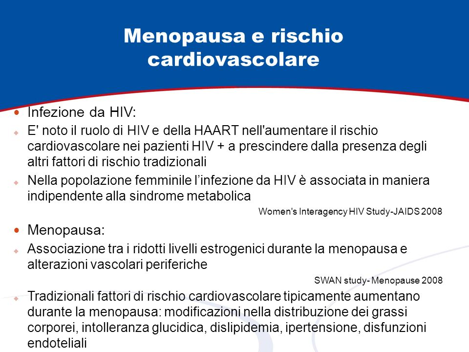Menopausa e rischio cardiovascolare