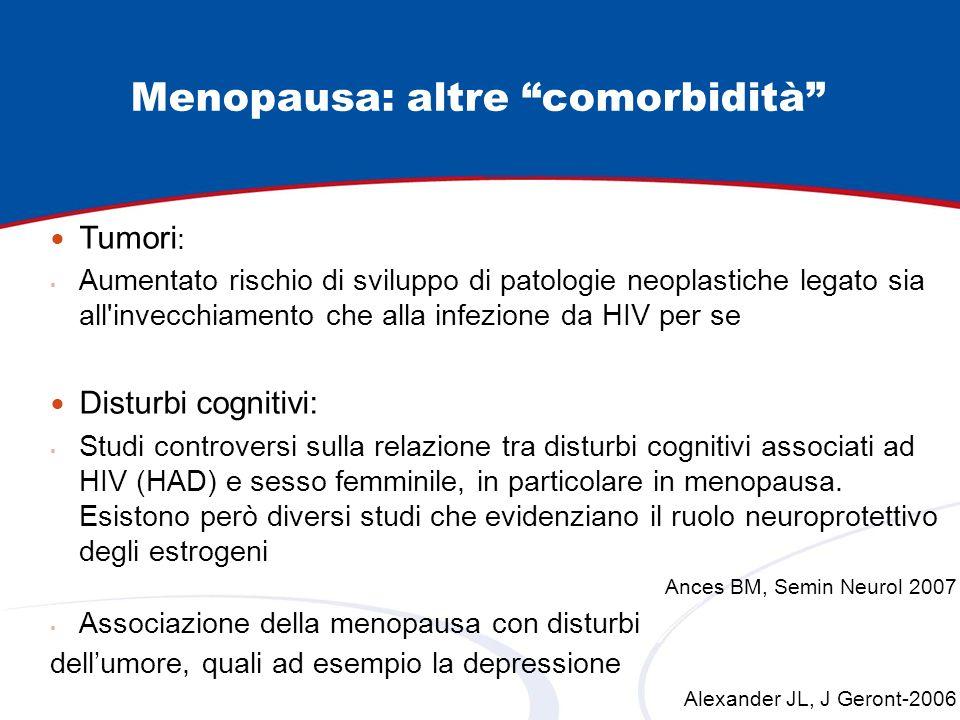 Menopausa: altre comorbidità