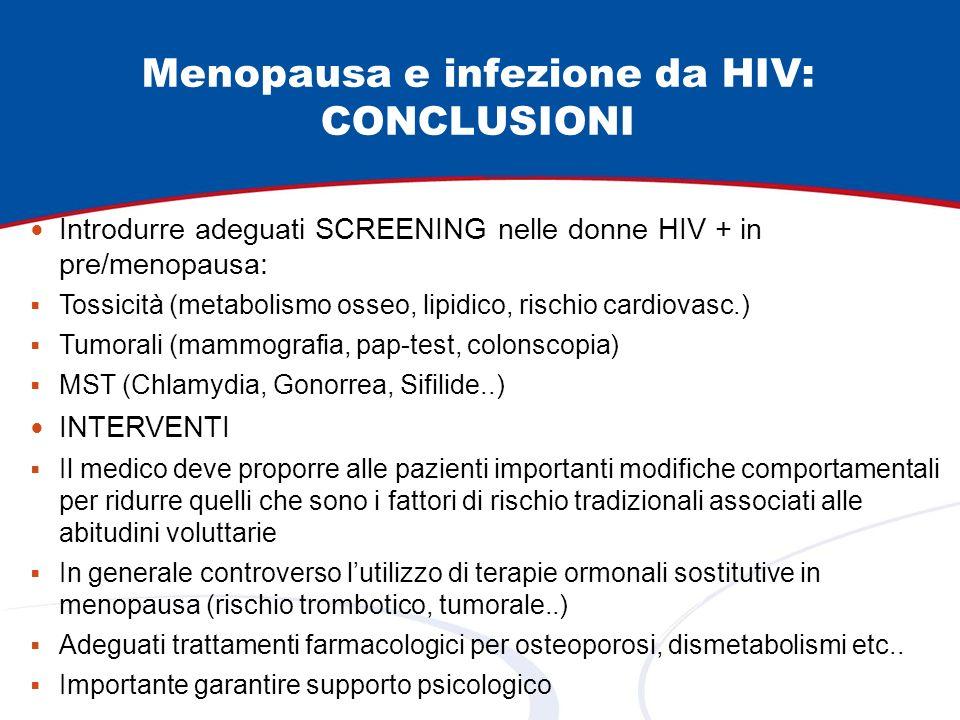 Menopausa e infezione da HIV: CONCLUSIONI