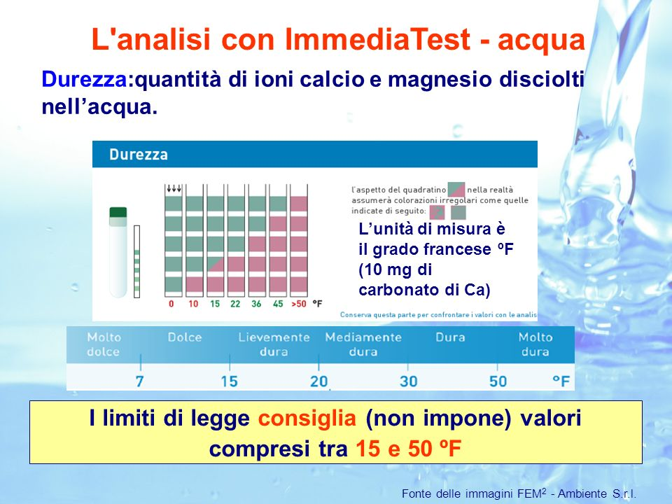 L analisi con ImmediaTest - acqua