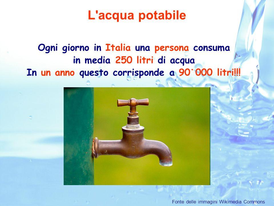L acqua potabile Ogni giorno in Italia una persona consuma