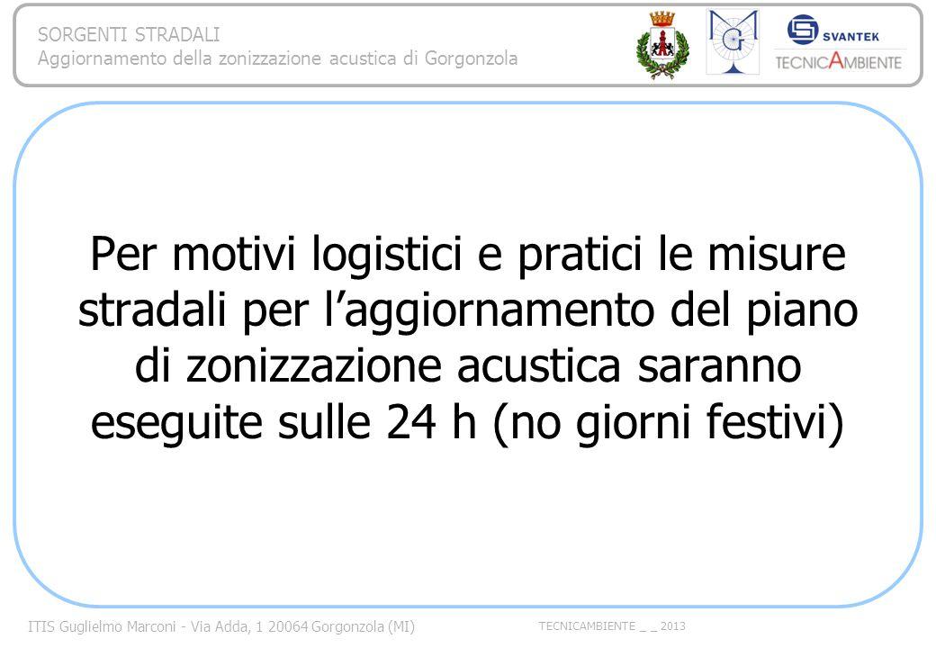 Per motivi logistici e pratici le misure stradali per l'aggiornamento del piano di zonizzazione acustica saranno eseguite sulle 24 h (no giorni festivi)