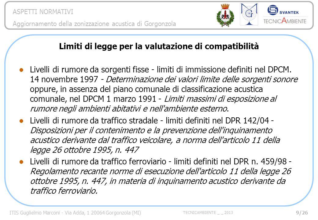 Limiti di legge per la valutazione di compatibilità