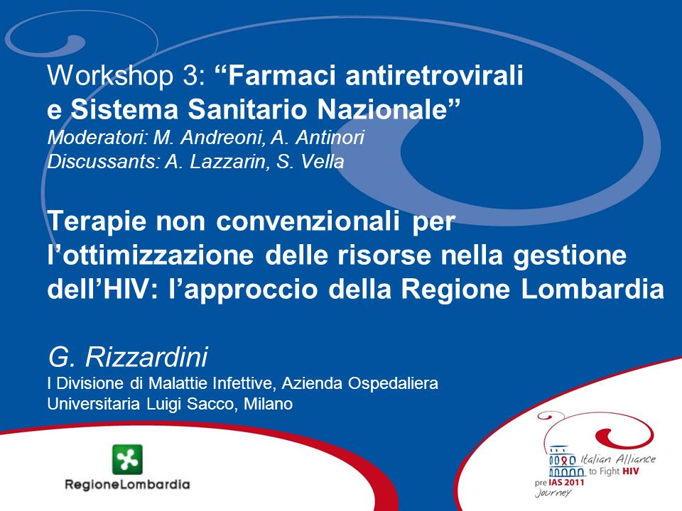 Workshop 3: Farmaci antiretrovirali e Sistema Sanitario Nazionale