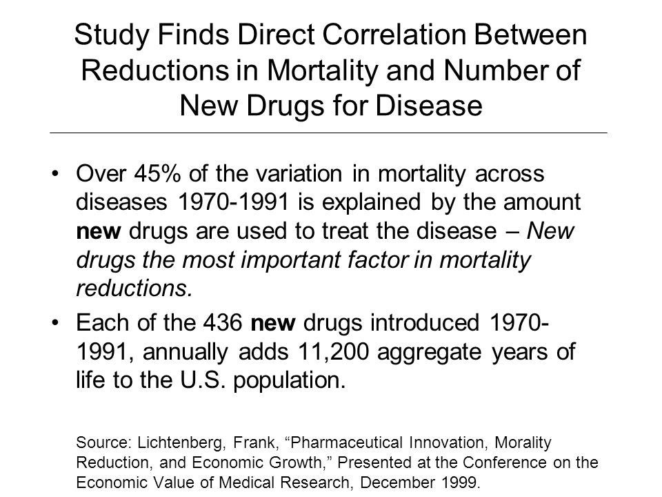 Study Finds Direct Correlation Between Reductions in Mortality and Number of New Drugs for Disease
