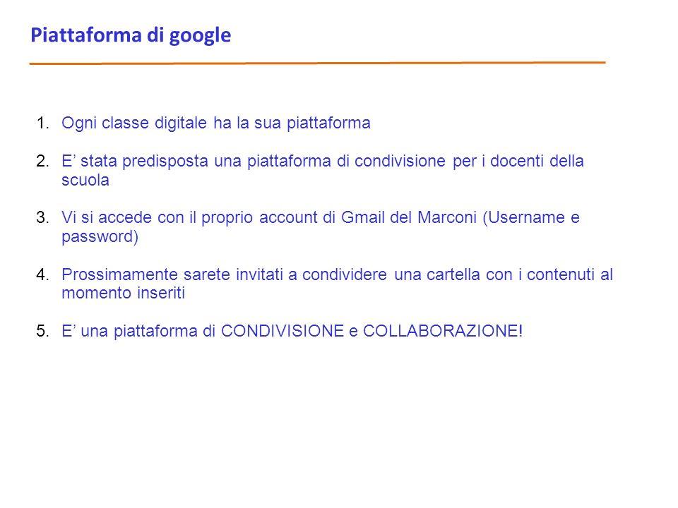 Piattaforma di google Ogni classe digitale ha la sua piattaforma