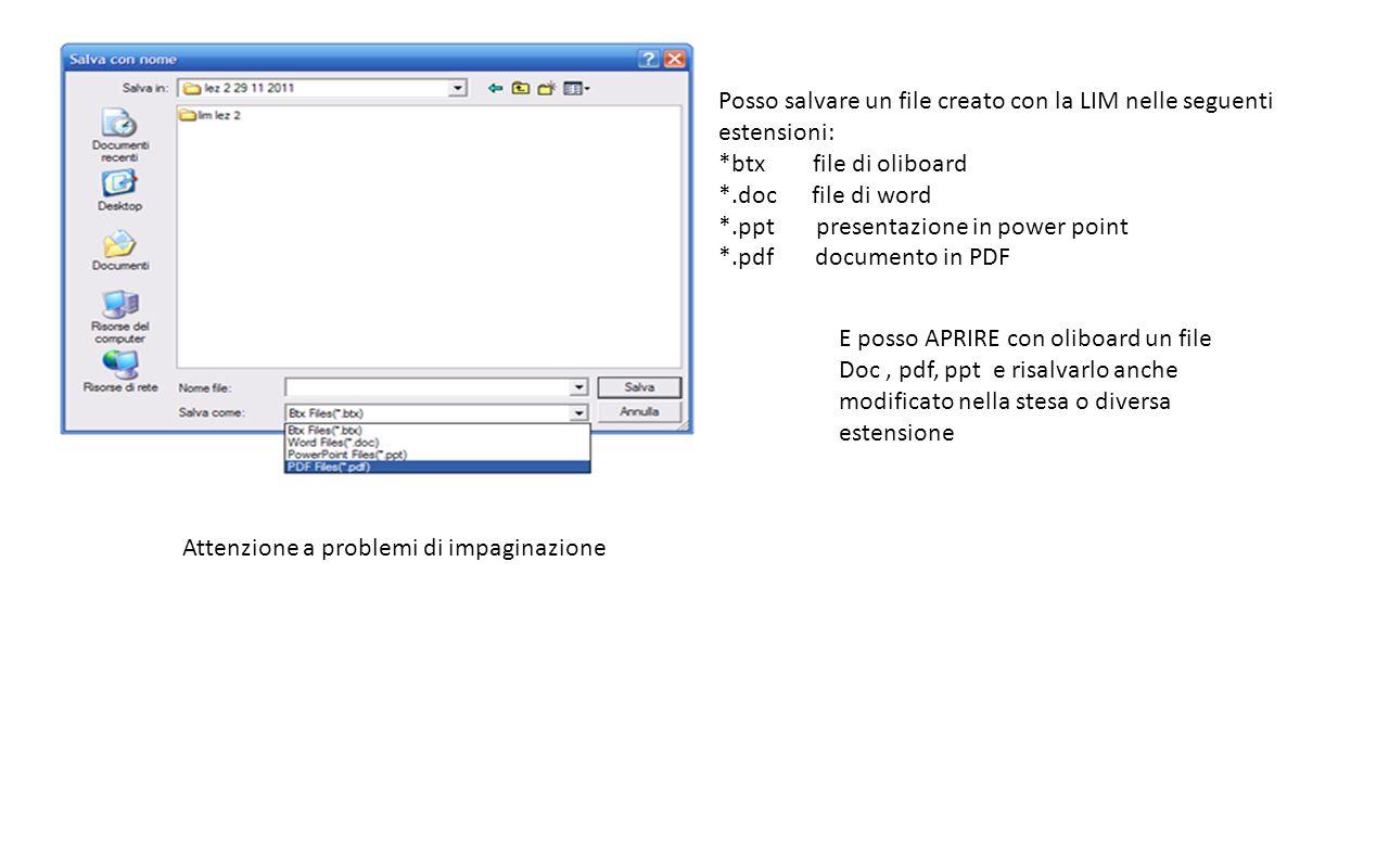 Posso salvare un file creato con la LIM nelle seguenti estensioni: