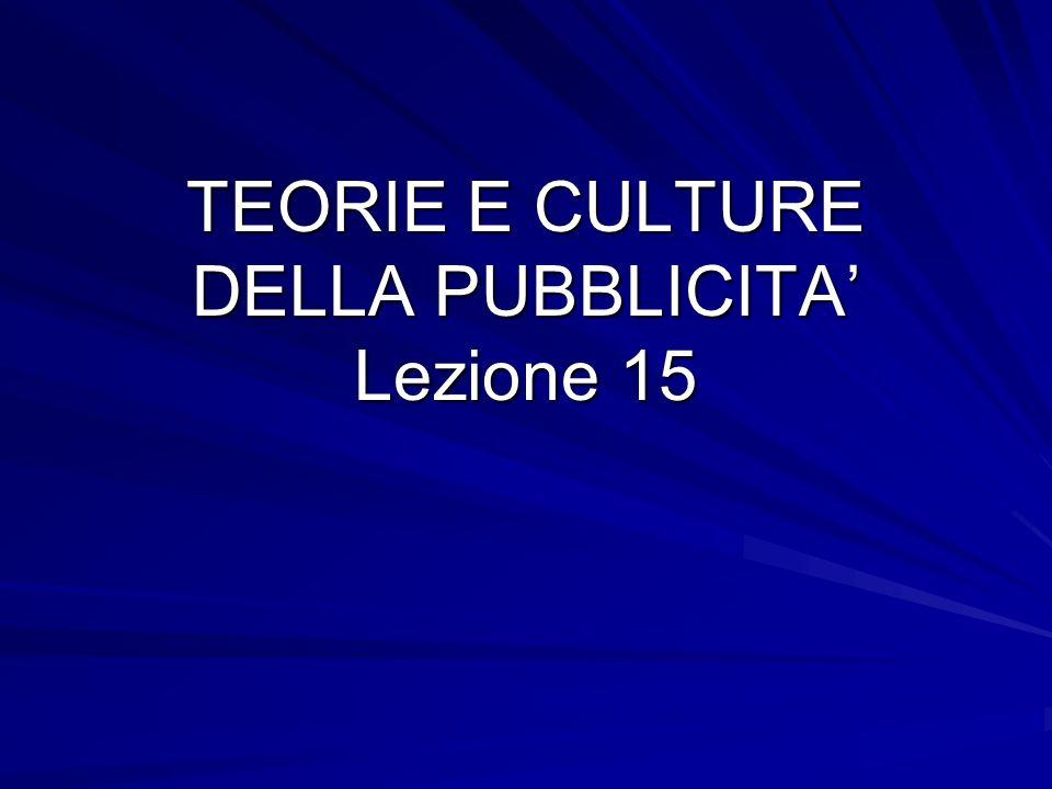 TEORIE E CULTURE DELLA PUBBLICITA' Lezione 15