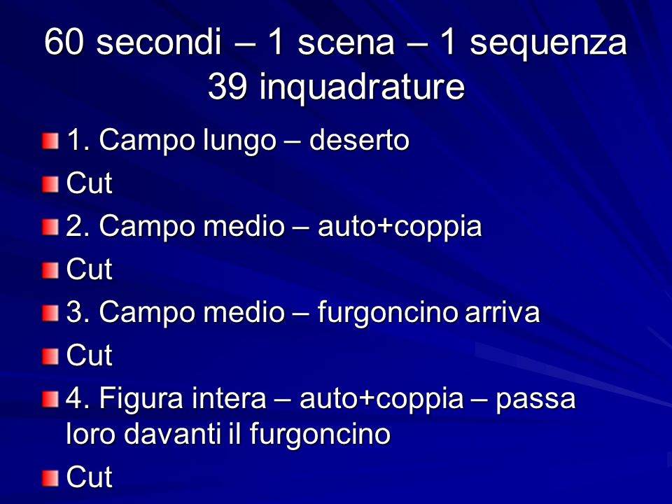 60 secondi – 1 scena – 1 sequenza 39 inquadrature