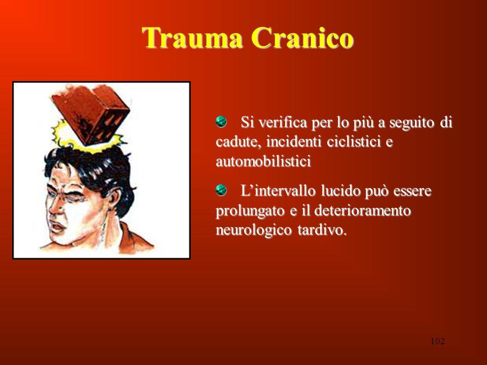 Trauma Cranico Si verifica per lo più a seguito di cadute, incidenti ciclistici e automobilistici.