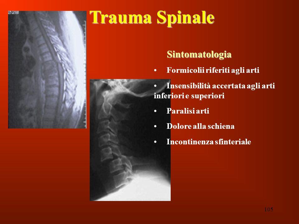 Trauma Spinale Sintomatologia Formicolii riferiti agli arti