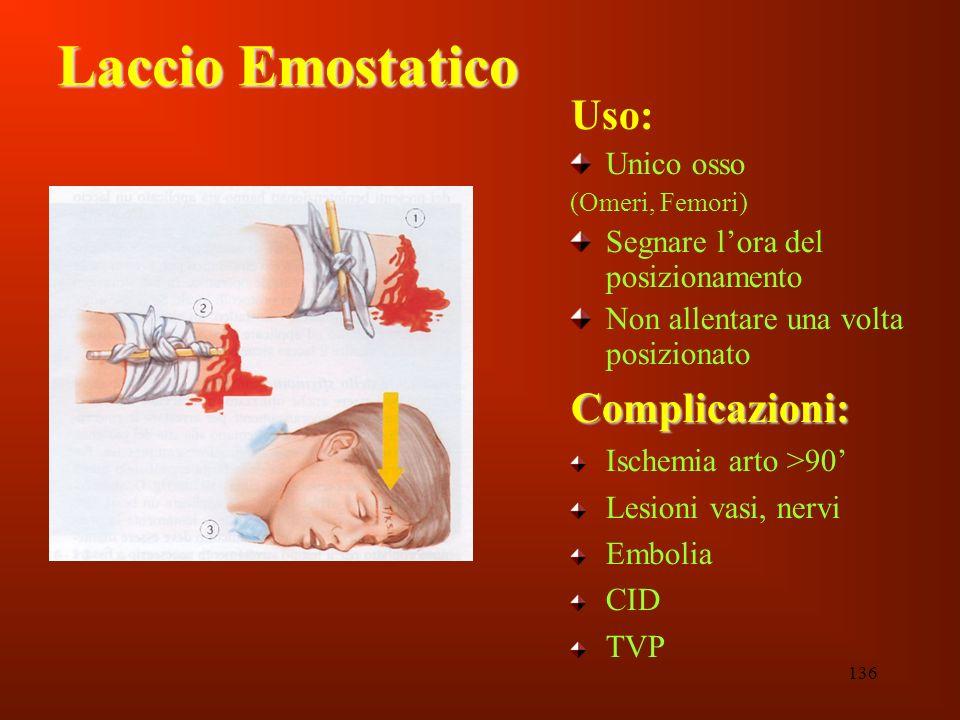 Laccio Emostatico Uso: Complicazioni: Unico osso