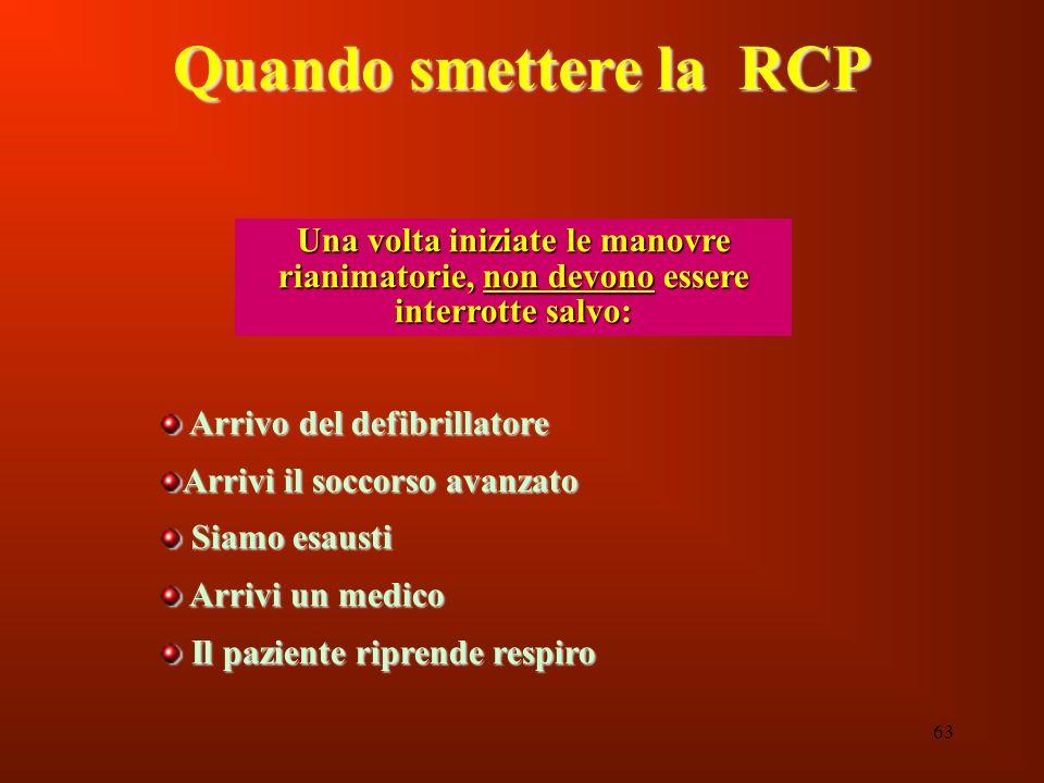 Quando smettere la RCP Una volta iniziate le manovre rianimatorie, non devono essere interrotte salvo: