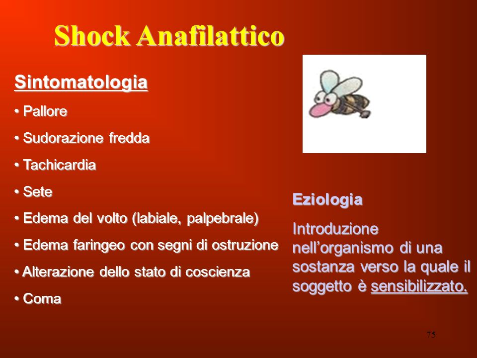 Shock Anafilattico Sintomatologia Eziologia