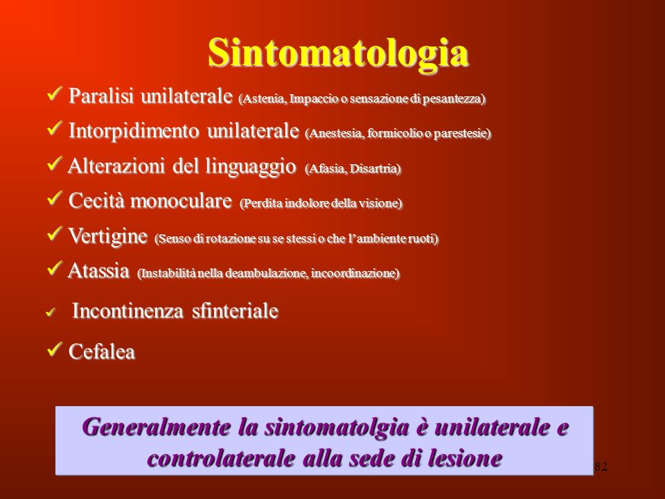 Sintomatologia Paralisi unilaterale (Astenia, Impaccio o sensazione di pesantezza) Intorpidimento unilaterale (Anestesia, formicolio o parestesie)