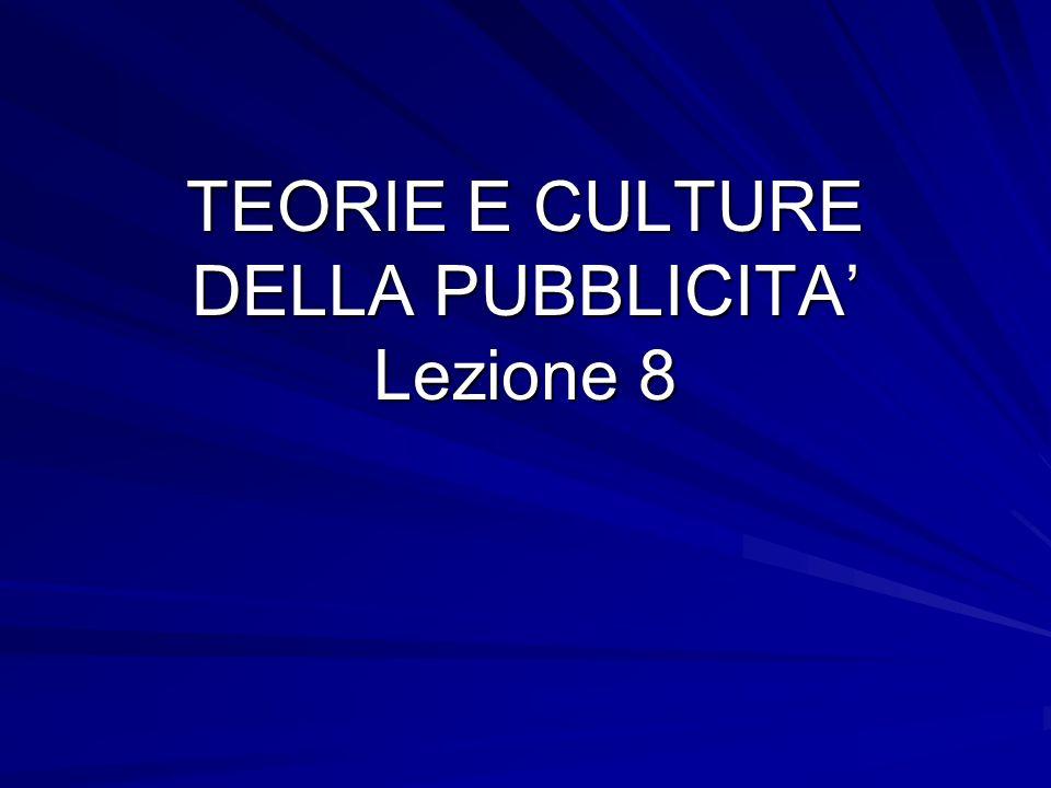 TEORIE E CULTURE DELLA PUBBLICITA' Lezione 8