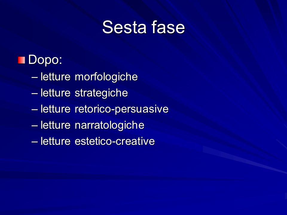 Sesta fase Dopo: letture morfologiche letture strategiche