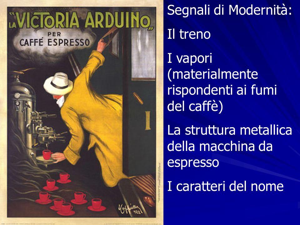 Segnali di Modernità:Il treno. I vapori (materialmente rispondenti ai fumi del caffè) La struttura metallica della macchina da espresso.