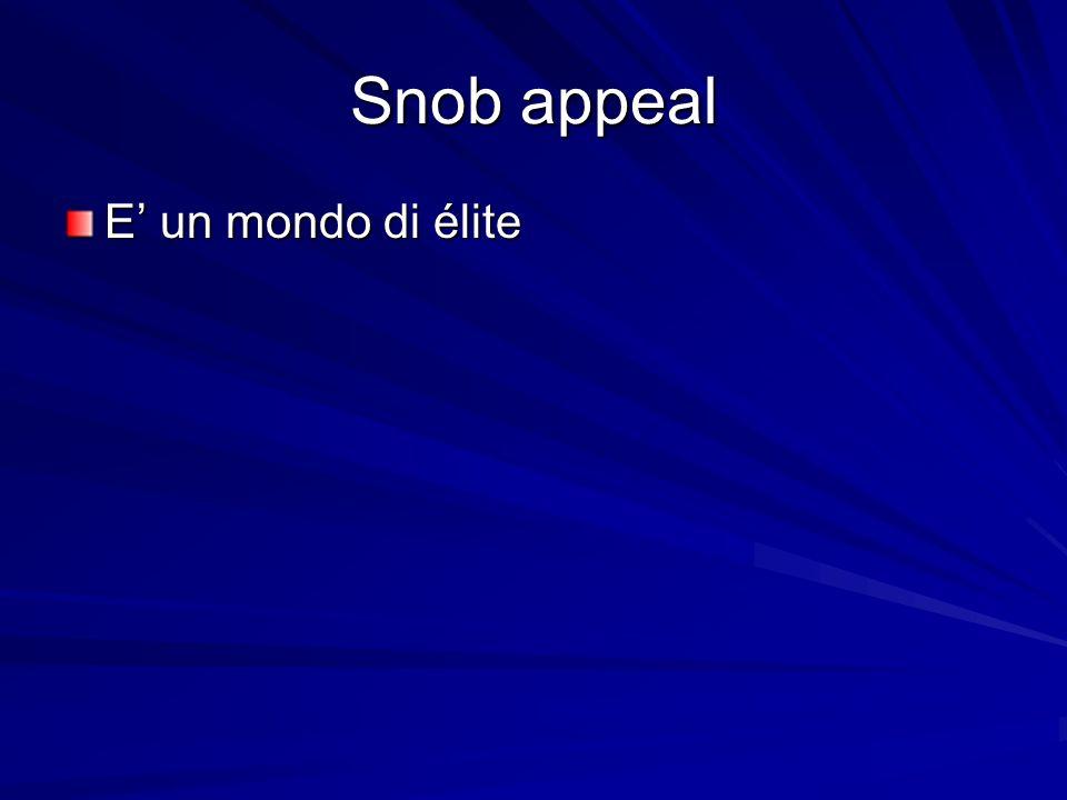 Snob appeal E' un mondo di élite