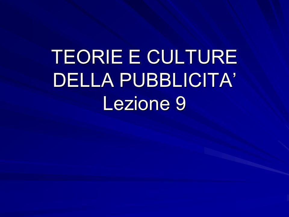 TEORIE E CULTURE DELLA PUBBLICITA' Lezione 9