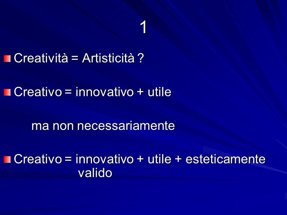 1 Creatività = Artisticità Creativo = innovativo + utile