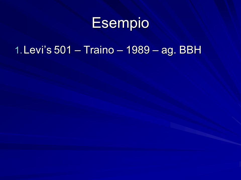 Esempio Levi's 501 – Traino – 1989 – ag. BBH