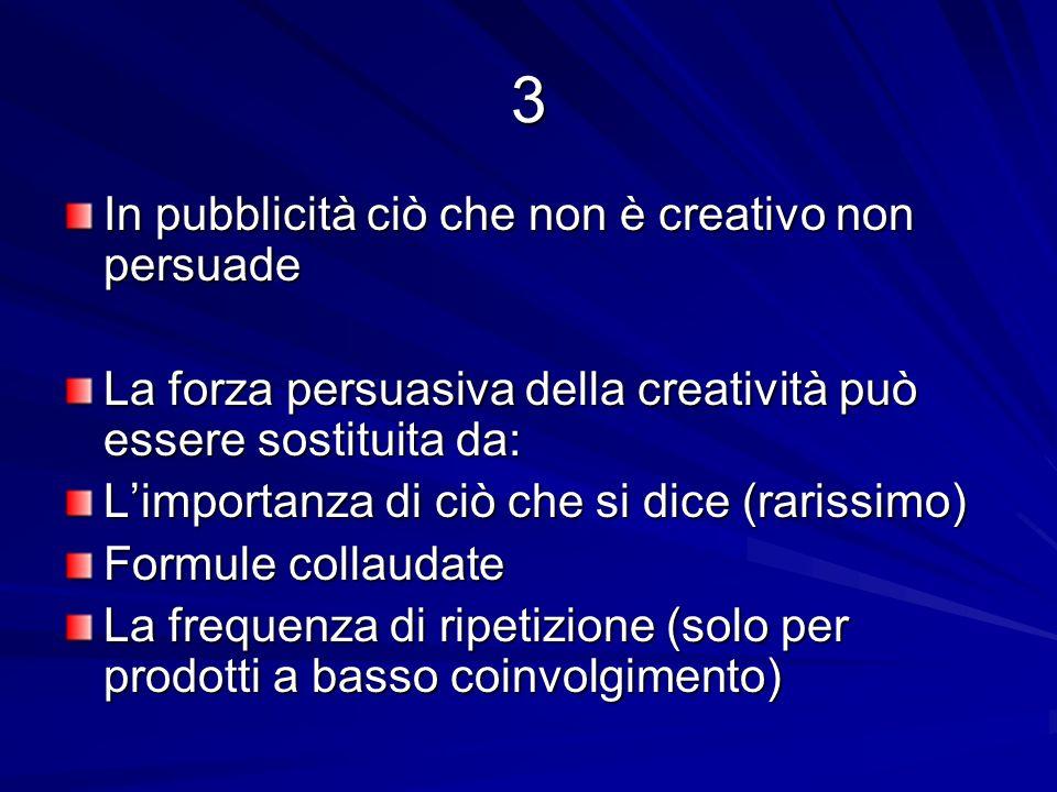 3 In pubblicità ciò che non è creativo non persuade