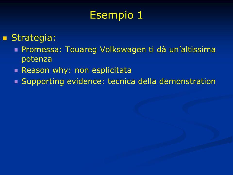 Esempio 1 Strategia: Promessa: Touareg Volkswagen ti dà un'altissima potenza. Reason why: non esplicitata.