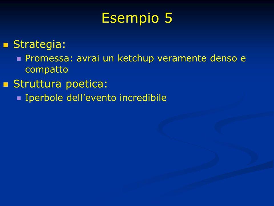 Esempio 5 Strategia: Struttura poetica: