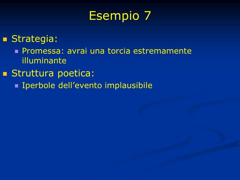 Esempio 7 Strategia: Struttura poetica: