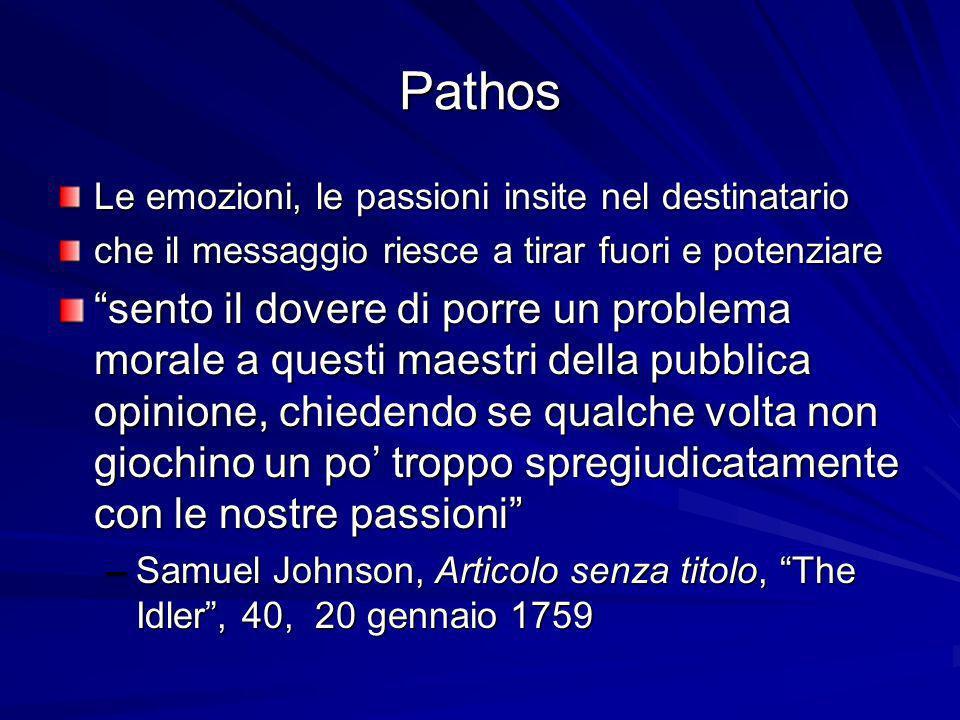 Pathos Le emozioni, le passioni insite nel destinatario. che il messaggio riesce a tirar fuori e potenziare.