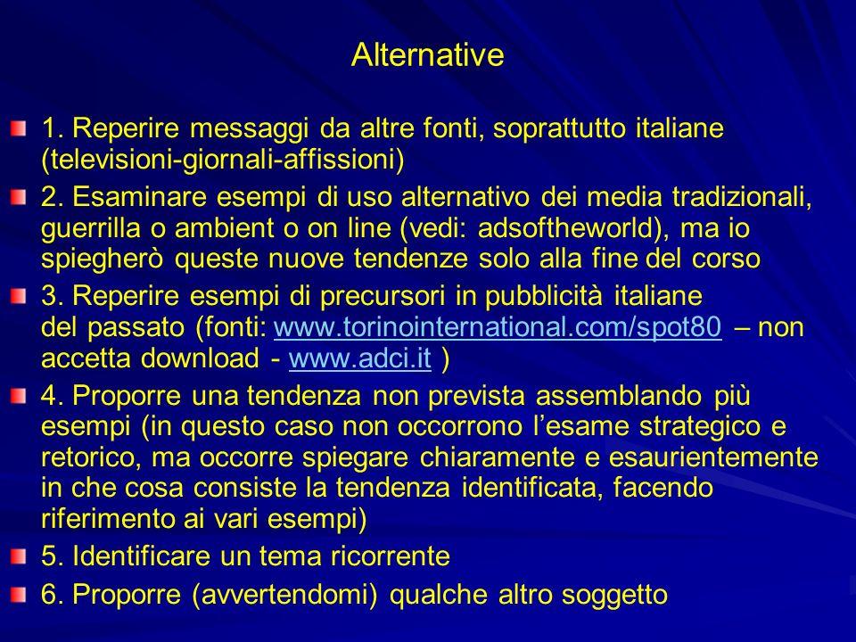 Alternative 1. Reperire messaggi da altre fonti, soprattutto italiane (televisioni-giornali-affissioni)