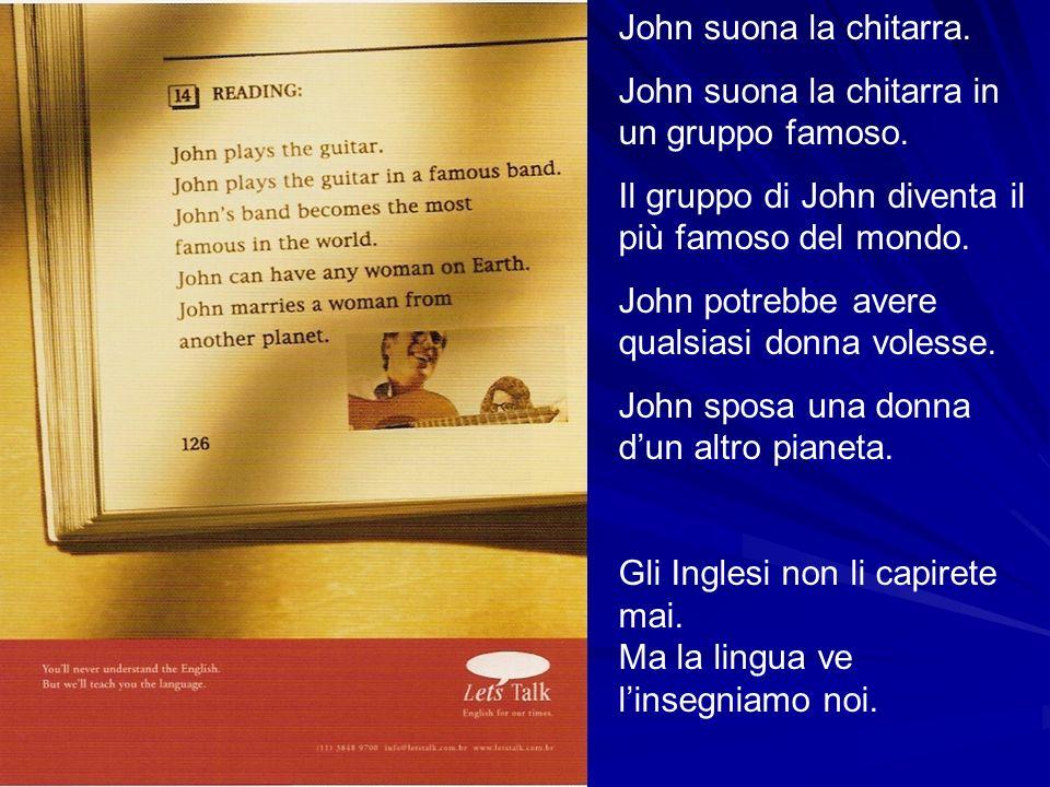 John suona la chitarra. John suona la chitarra in un gruppo famoso. Il gruppo di John diventa il più famoso del mondo.