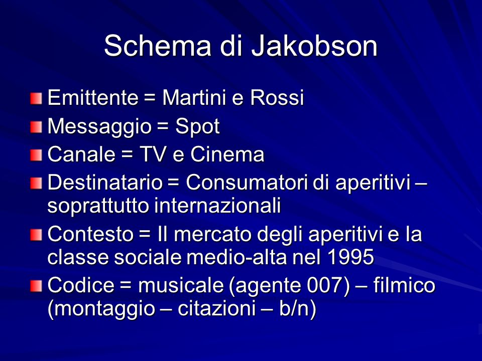 Schema di Jakobson Emittente = Martini e Rossi Messaggio = Spot
