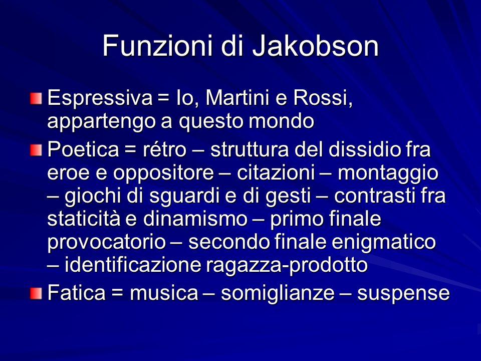 Funzioni di Jakobson Espressiva = Io, Martini e Rossi, appartengo a questo mondo.