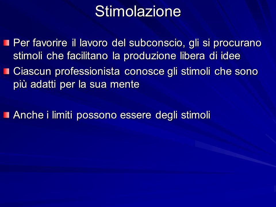 Stimolazione Per favorire il lavoro del subconscio, gli si procurano stimoli che facilitano la produzione libera di idee.
