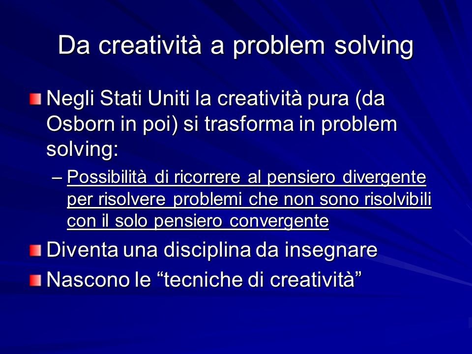 Da creatività a problem solving