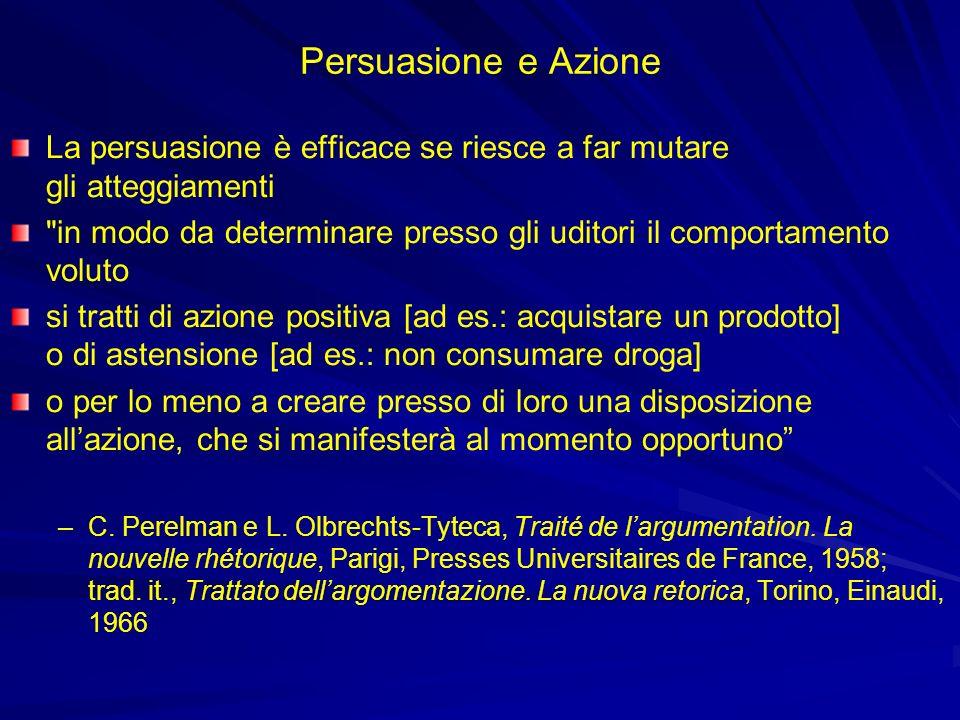 Persuasione e AzioneLa persuasione è efficace se riesce a far mutare gli atteggiamenti.