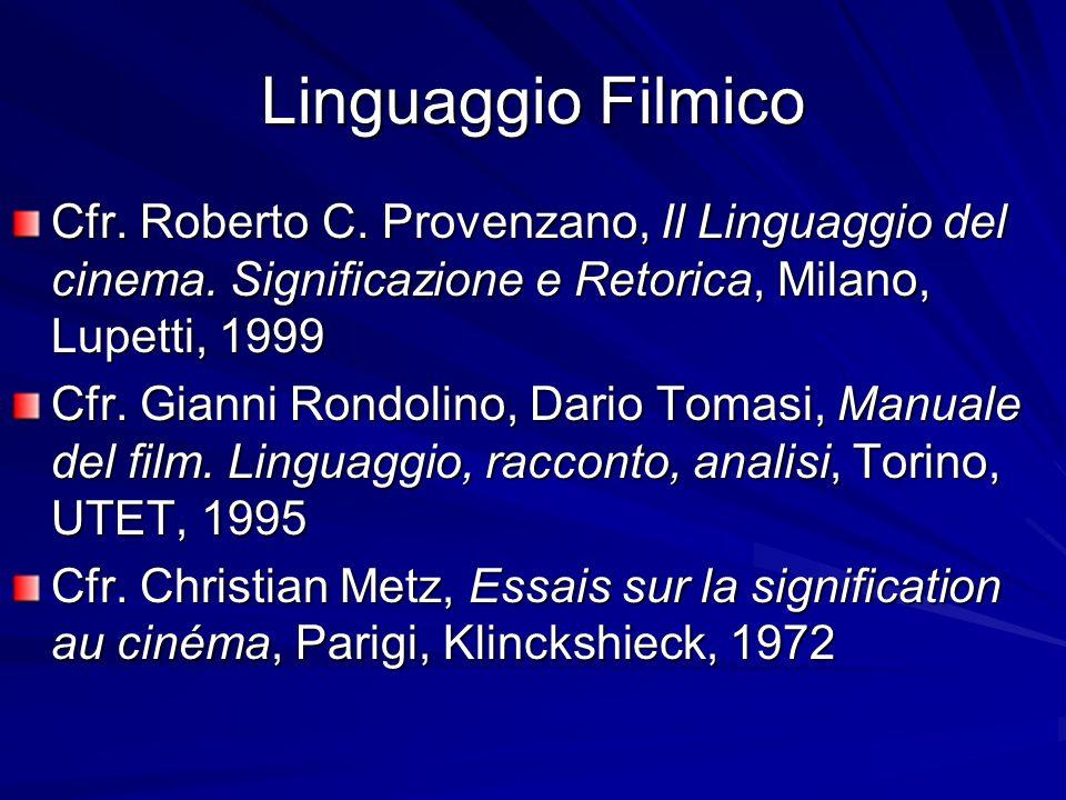Linguaggio Filmico Cfr. Roberto C. Provenzano, Il Linguaggio del cinema. Significazione e Retorica, Milano, Lupetti, 1999.