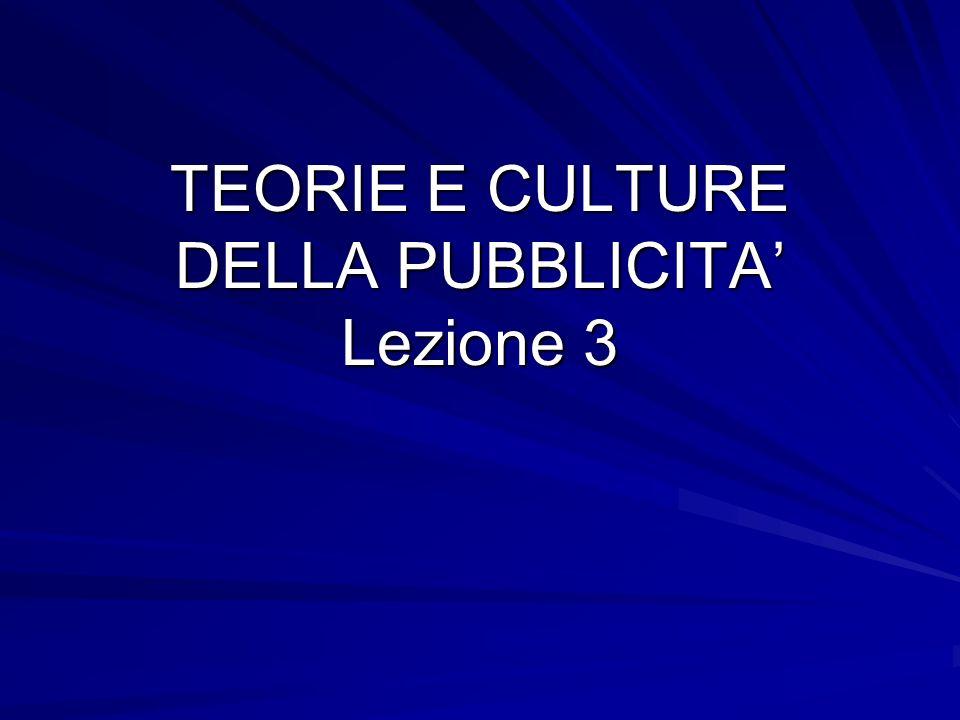 TEORIE E CULTURE DELLA PUBBLICITA' Lezione 3