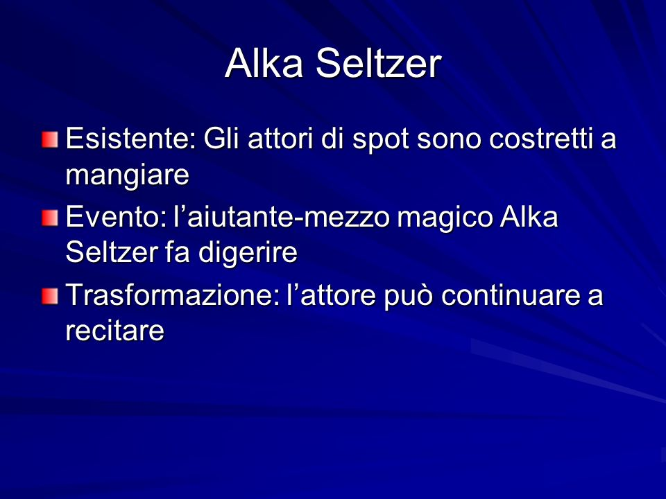 Alka Seltzer Esistente: Gli attori di spot sono costretti a mangiare