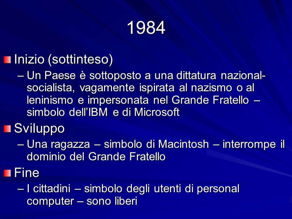 1984 Inizio (sottinteso) Sviluppo Fine