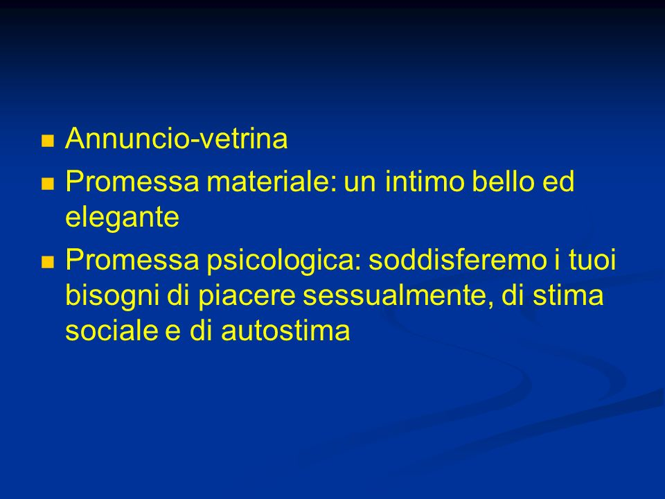 Annuncio-vetrina Promessa materiale: un intimo bello ed elegante.