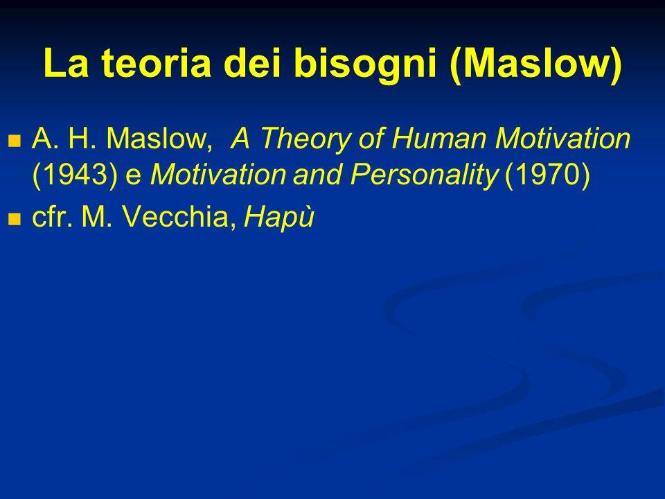 La teoria dei bisogni (Maslow)
