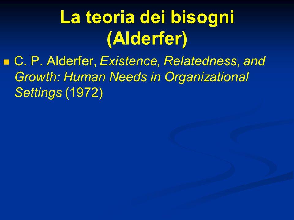 La teoria dei bisogni (Alderfer)