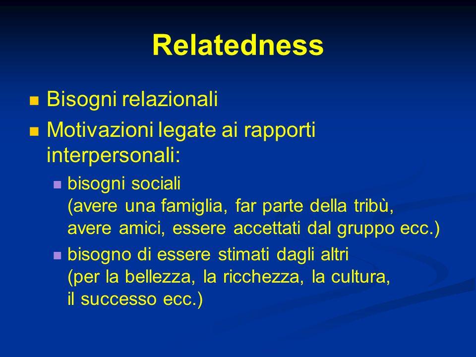 Relatedness Bisogni relazionali